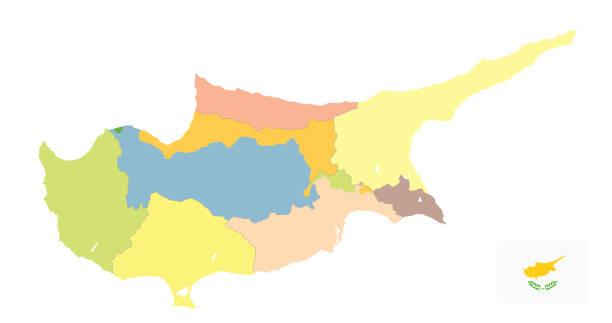 zypern politische karte isoliert auf weiss. kein text - paphos stock-grafiken, -clipart, -cartoons und -symbole