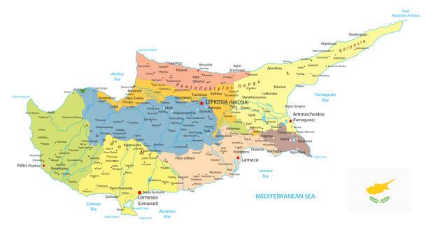 zypern politische karte isoliert auf weiss - paphos stock-grafiken, -clipart, -cartoons und -symbole