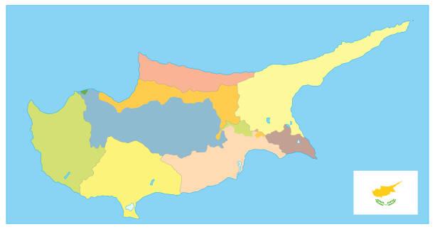 zypern politische karte. kein text - paphos stock-grafiken, -clipart, -cartoons und -symbole
