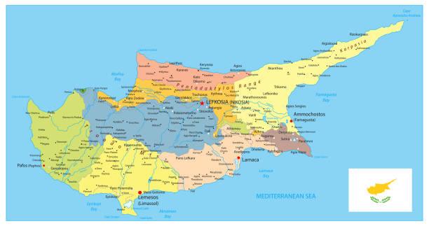 politische karte von zypern - paphos stock-grafiken, -clipart, -cartoons und -symbole