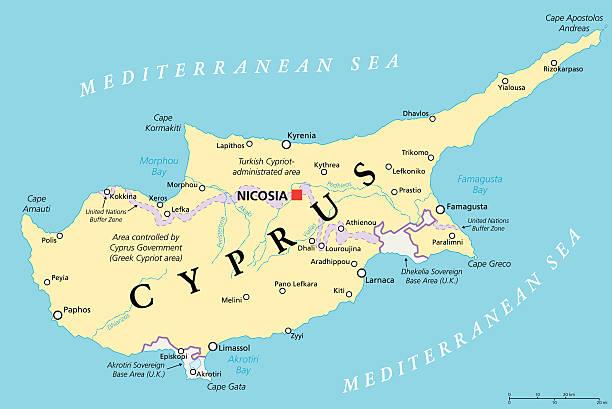zypern politische karte - paphos stock-grafiken, -clipart, -cartoons und -symbole