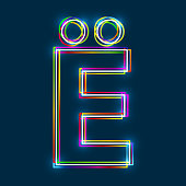 Cyrillic Capital Letter Yo. Multicolor outline font with glowing effect on blue background.