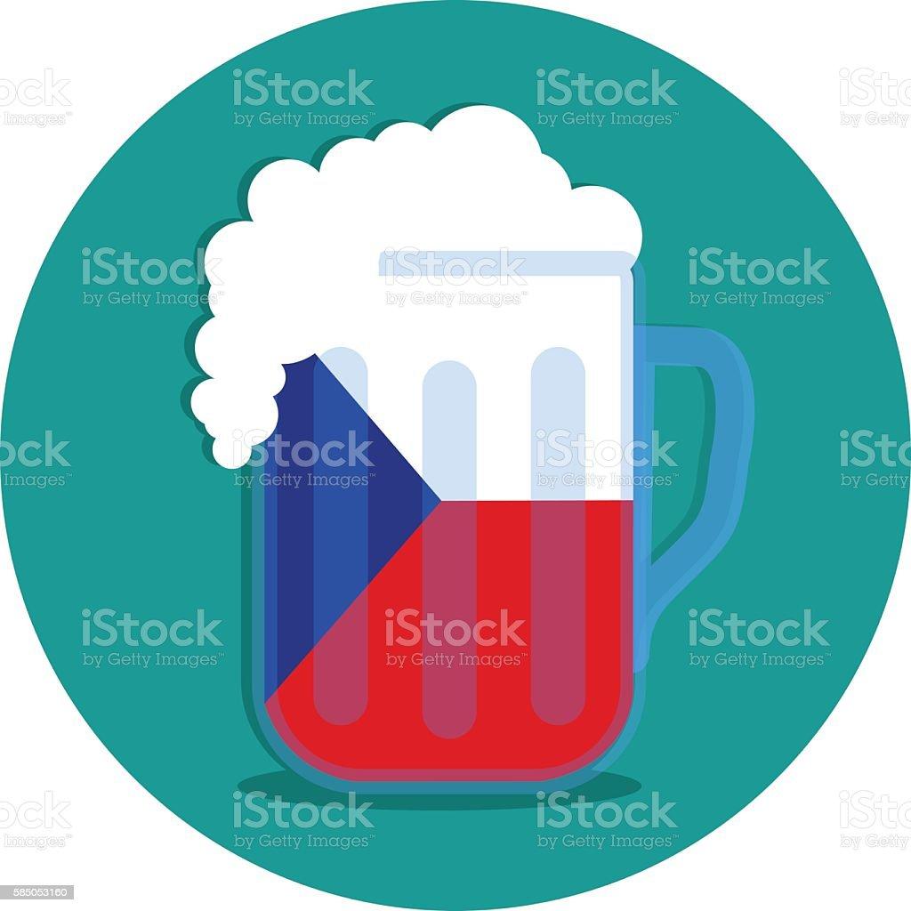 Czech beer flag vector art illustration
