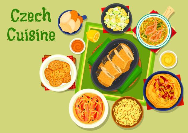 tschechische küche traditionelle gerichte icon-design - sauerkraut stock-grafiken, -clipart, -cartoons und -symbole