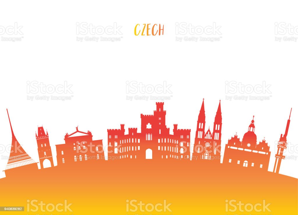 Czech Landmark Global Travel And Journey Paper Background Vector Design Templateused For Your