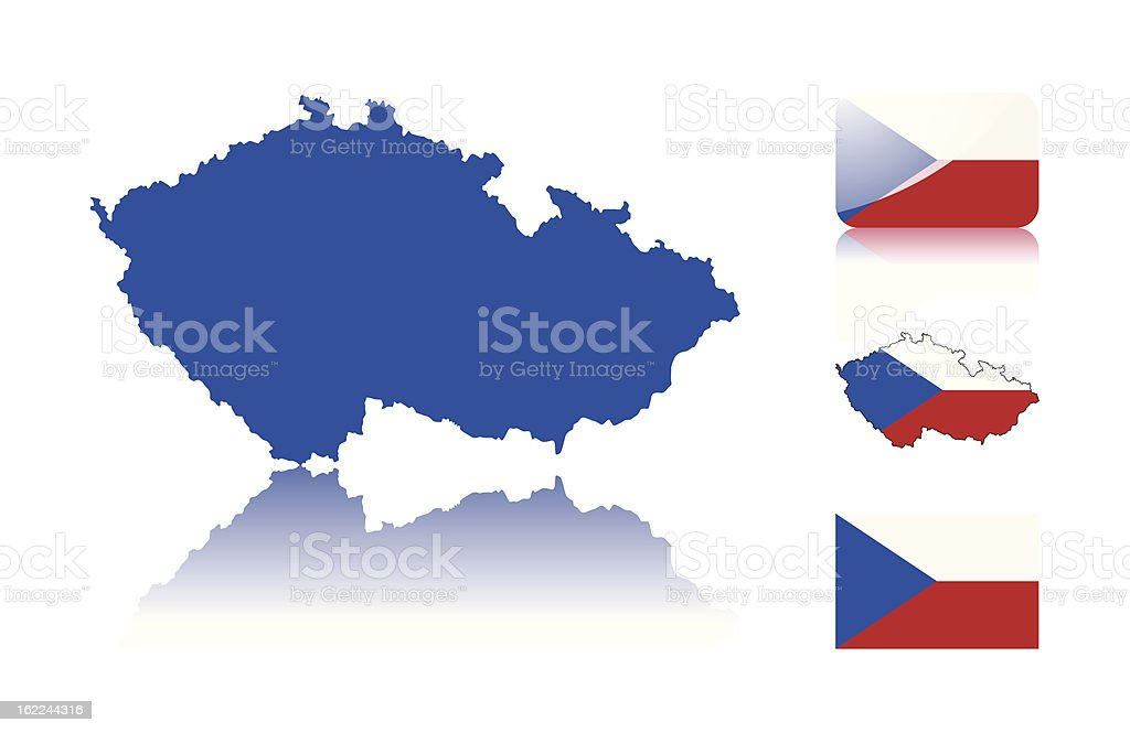 Czech map and flags vector art illustration