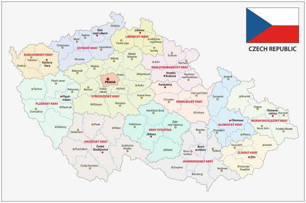 czech republic administrative and political map with flag - republika czeska stock illustrations
