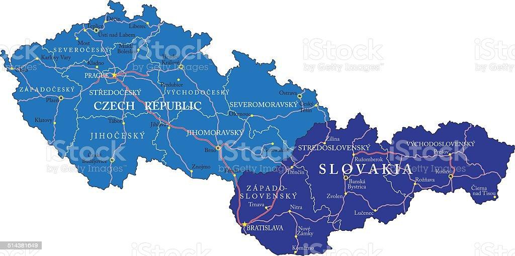 Carte de la République tchèque et de la Slovaquie carte de la république tchèque et de la slovaquie vecteurs libres de droits et plus d'images vectorielles de banská bystrica libre de droits