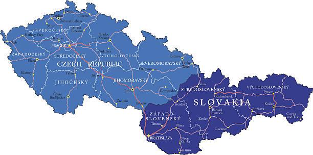 republika czeska i słowacja mapy - republika czeska stock illustrations