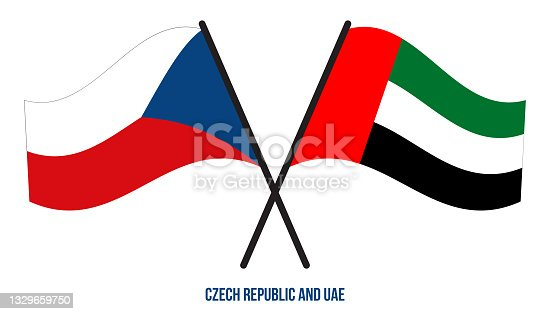 istock Czech Republic and UAE Flags Crossed And Waving Flat Style. Official Proportion. Correct Colors. 1329659750