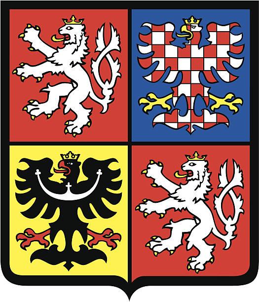 republika czeska herb - republika czeska stock illustrations