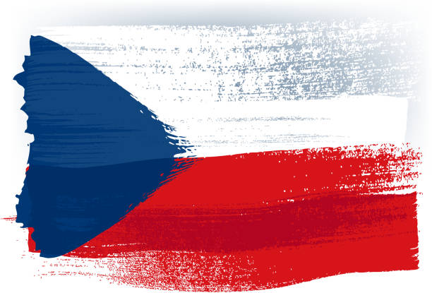 republika czeska kolorowa flaga namalowana za pomocą pociągnięć pędzlem - republika czeska stock illustrations