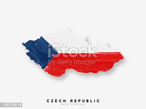istock Czech republic detailed map with flag of country. Painted in watercolor paint colors in the national flag 1207226218