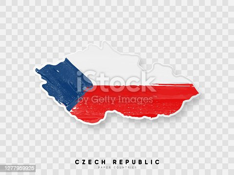 istock Czech republic detailed map with flag of country. Painted in watercolor paint colors in the national flag 1277959925