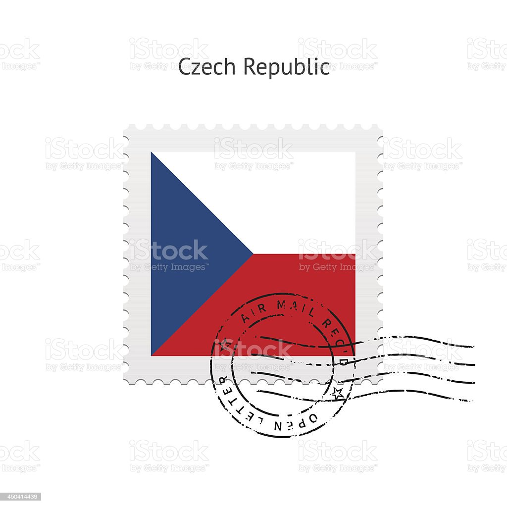 Czech Republic Flag Postage Stamp royalty-free czech republic flag postage stamp stock vector art & more images of clip art