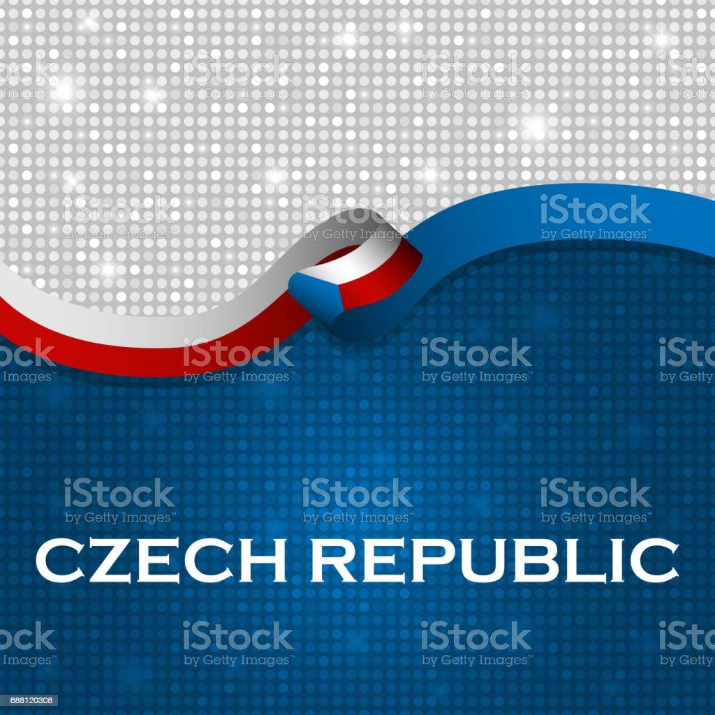 Czech Republic flag ribbon shiny particle style. Vector Illustration vector art illustration