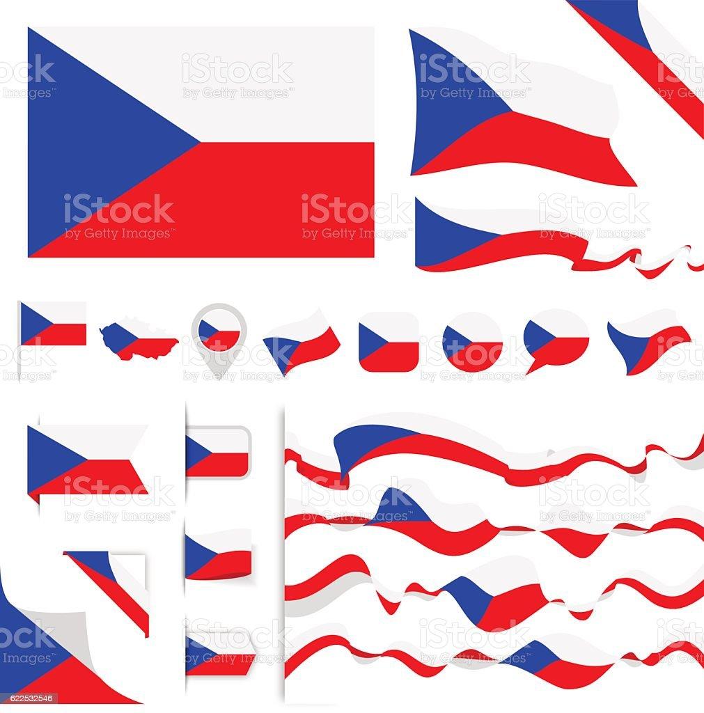 Czech Republic Flag Set vector art illustration