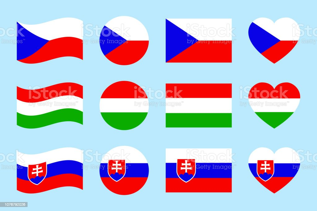Czech Republic, Hungary, Slovakia flags vector set. Flat isolated icons. Hungarian, Czech, Slovak national symbols collection. Web, sports page, travelling, touristic design element. Geometric shape. vector art illustration