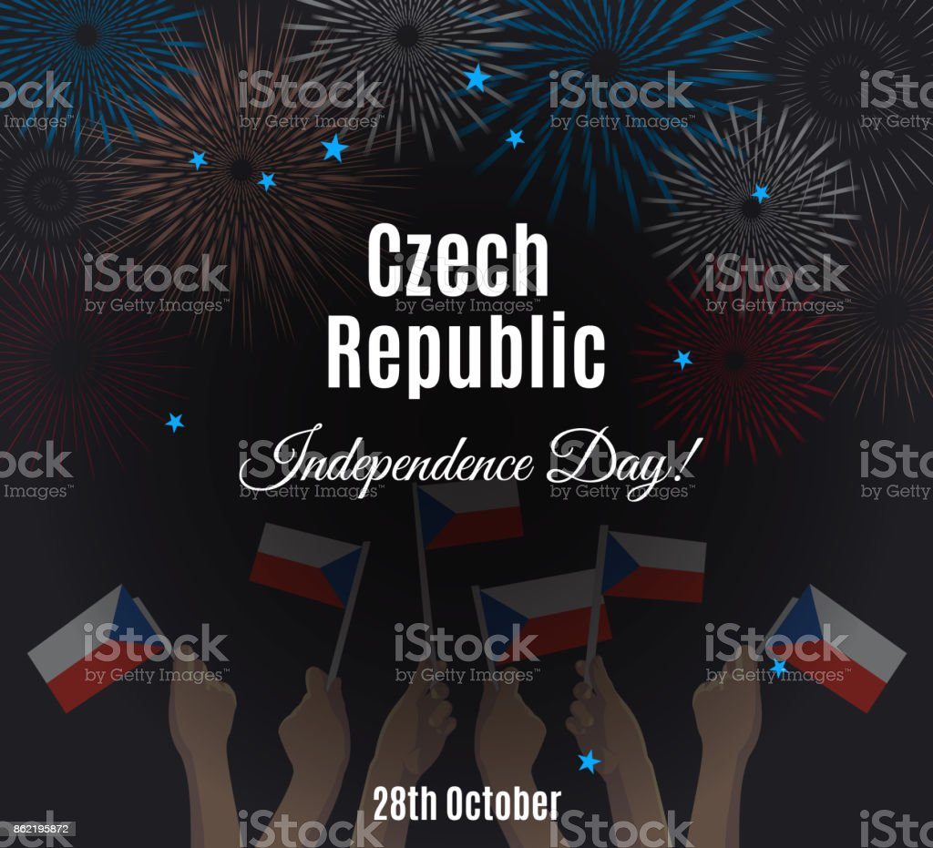 Czech Republic Independence Day placard vector art illustration