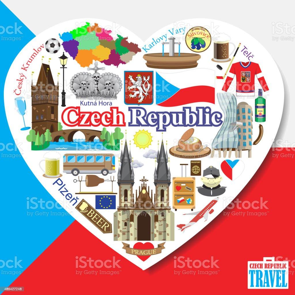 Czech Republic love. Vector icons and symbols set of landmarks
