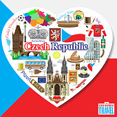 Czech Republic love. Vector icons and symbols set of landmarks