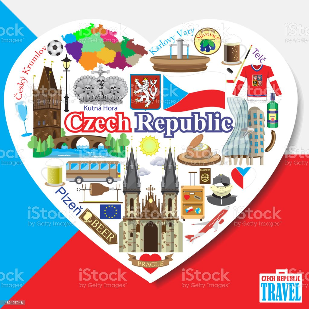 Czech Republic love. Vector icons and symbols set of landmarks vector art illustration