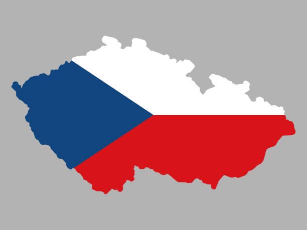 czech republic map flag vector illustration eps 10. - republika czeska stock illustrations