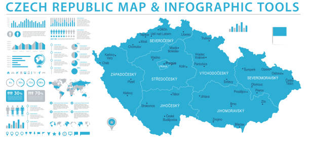 czech republic map - info graphic vector illustration - republika czeska stock illustrations