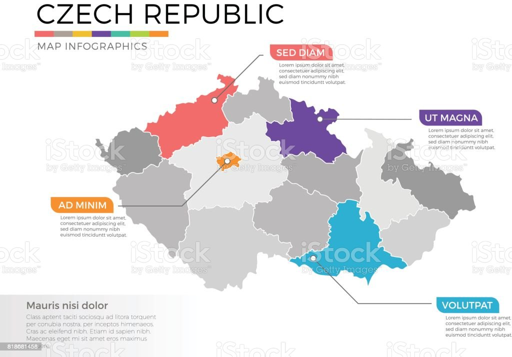 Czech republic map infographics vector template with regions and pointer marks vector art illustration