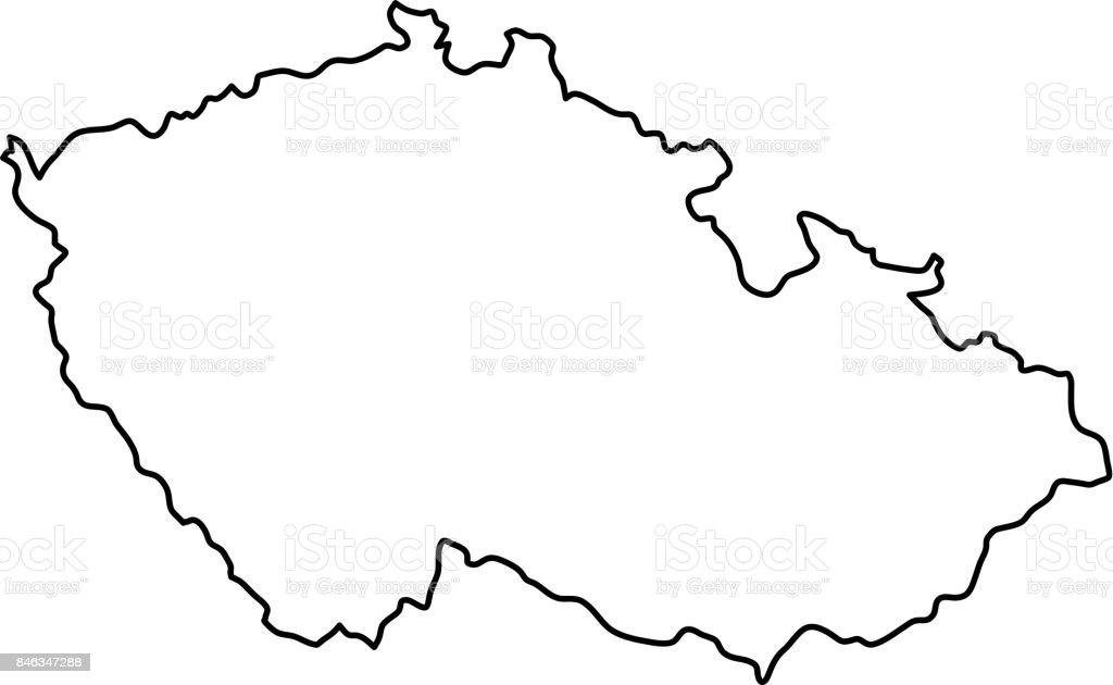 Czech Republic map of black contour curves of vector illustration vector art illustration