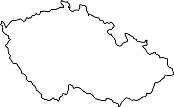 czech republic map of black contour curves of vector illustration - republika czeska stock illustrations
