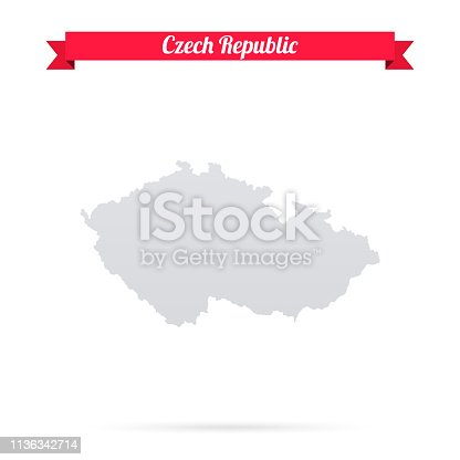Map of Czech Republic isolated on a blank background and with his name on a red ribbon. Vector Illustration (EPS10, well layered and grouped). Easy to edit, manipulate, resize or colorize. Please do not hesitate to contact me if you have any questions, or need to customise the illustration. http://www.istockphoto.com/portfolio/bgblue