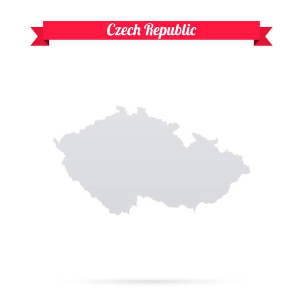 czech republic map on white background with red banner - republika czeska stock illustrations