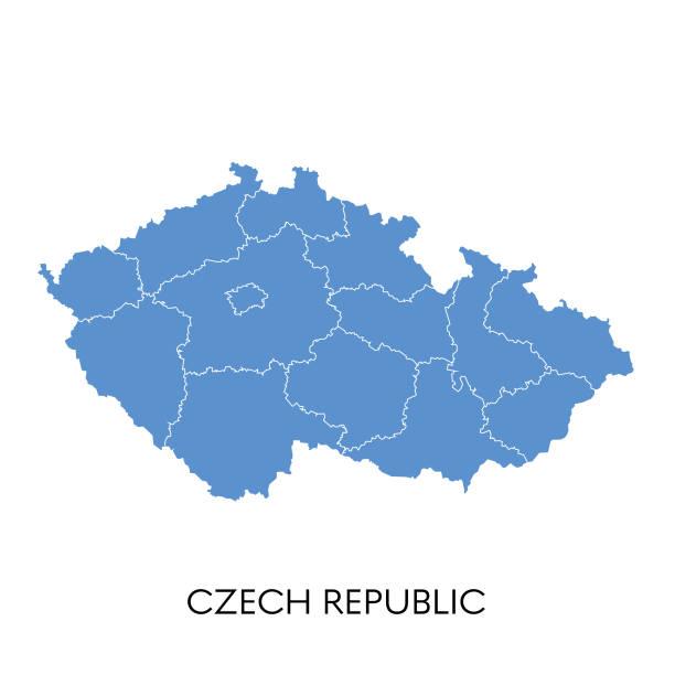 czech republic map - republika czeska stock illustrations
