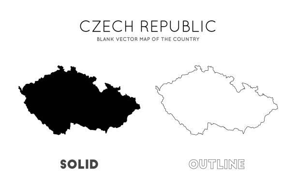 czech republic map. - republika czeska stock illustrations