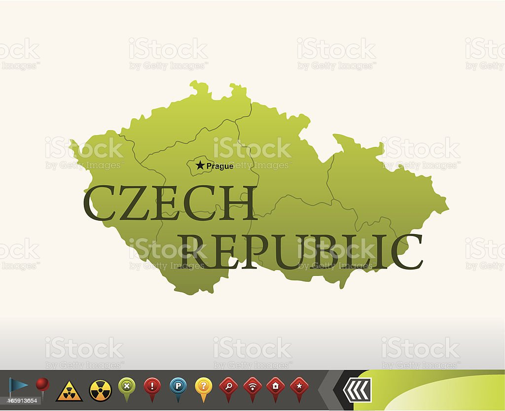 Czech Republic map with navigation icons royalty-free stock vector art