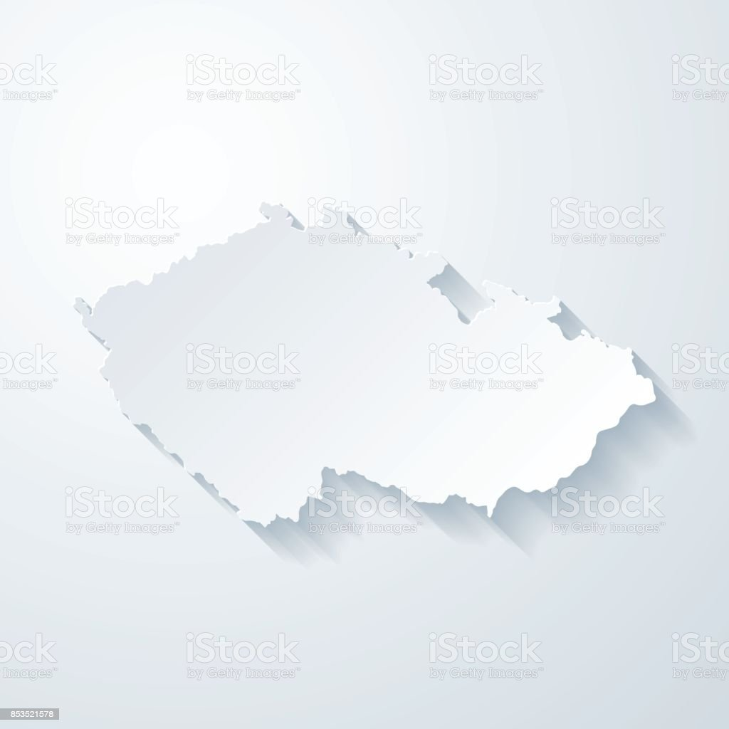 Czech Republic map with paper cut effect on blank background vector art illustration
