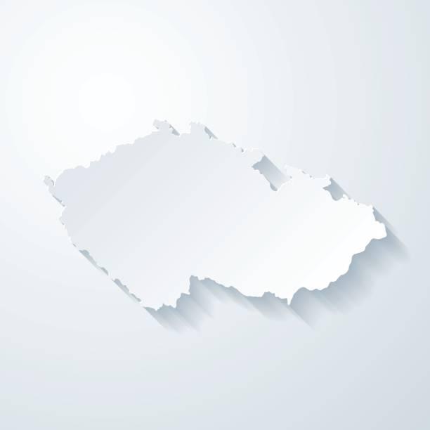 czech republic map with paper cut effect on blank background - republika czeska stock illustrations