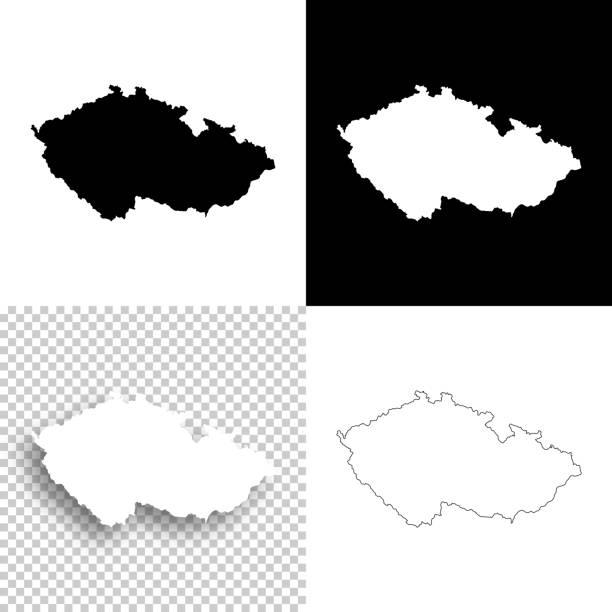 체코 공화국 지도 디자인-빈, 흰색과 검정색 배경 - 체코 stock illustrations