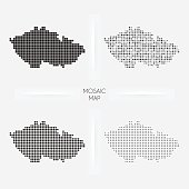 Czech Republic maps - Mosaic squarred and dotted