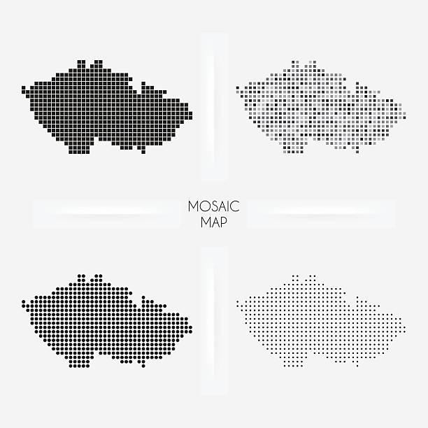 republika czeska mapy-mozaiki squarred i groszki - republika czeska stock illustrations