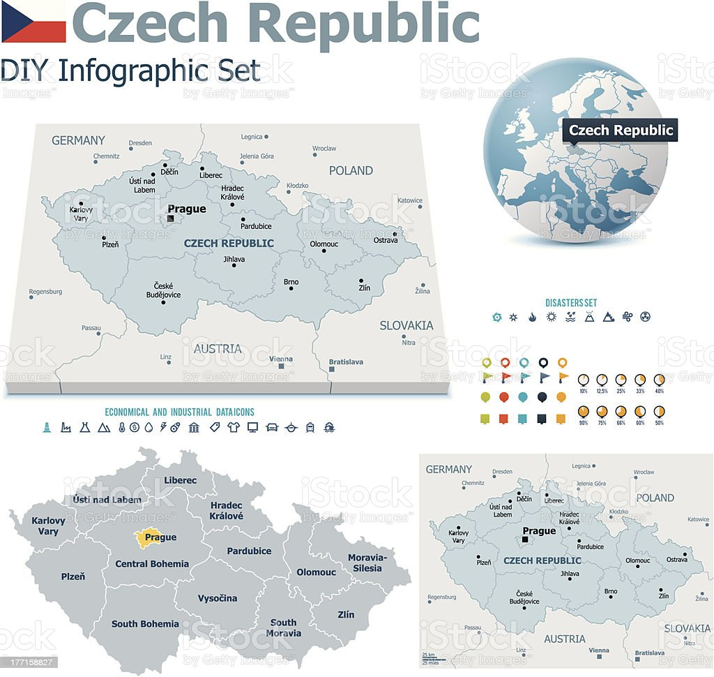Czech Republic maps with markers royalty-free stock vector art