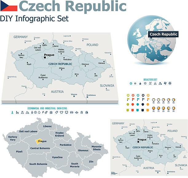 republika czeska mapy ze znacznikami - republika czeska stock illustrations
