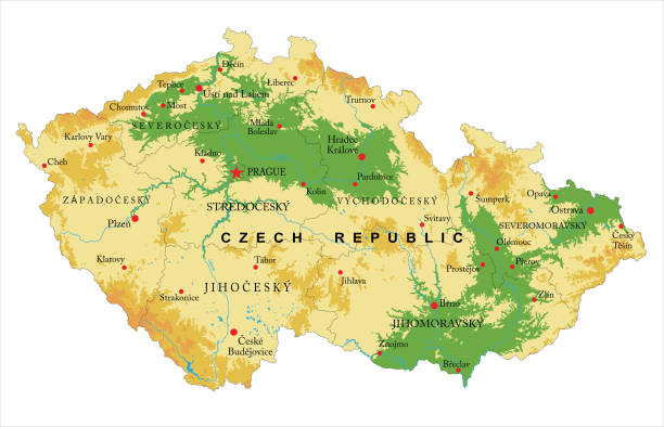 czech republic physical map - republika czeska stock illustrations