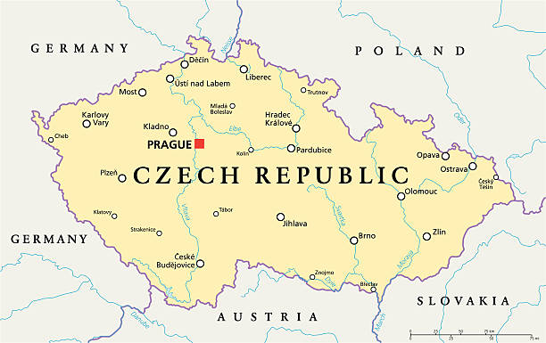 stockillustraties, clipart, cartoons en iconen met czech republic political map - tsjechië