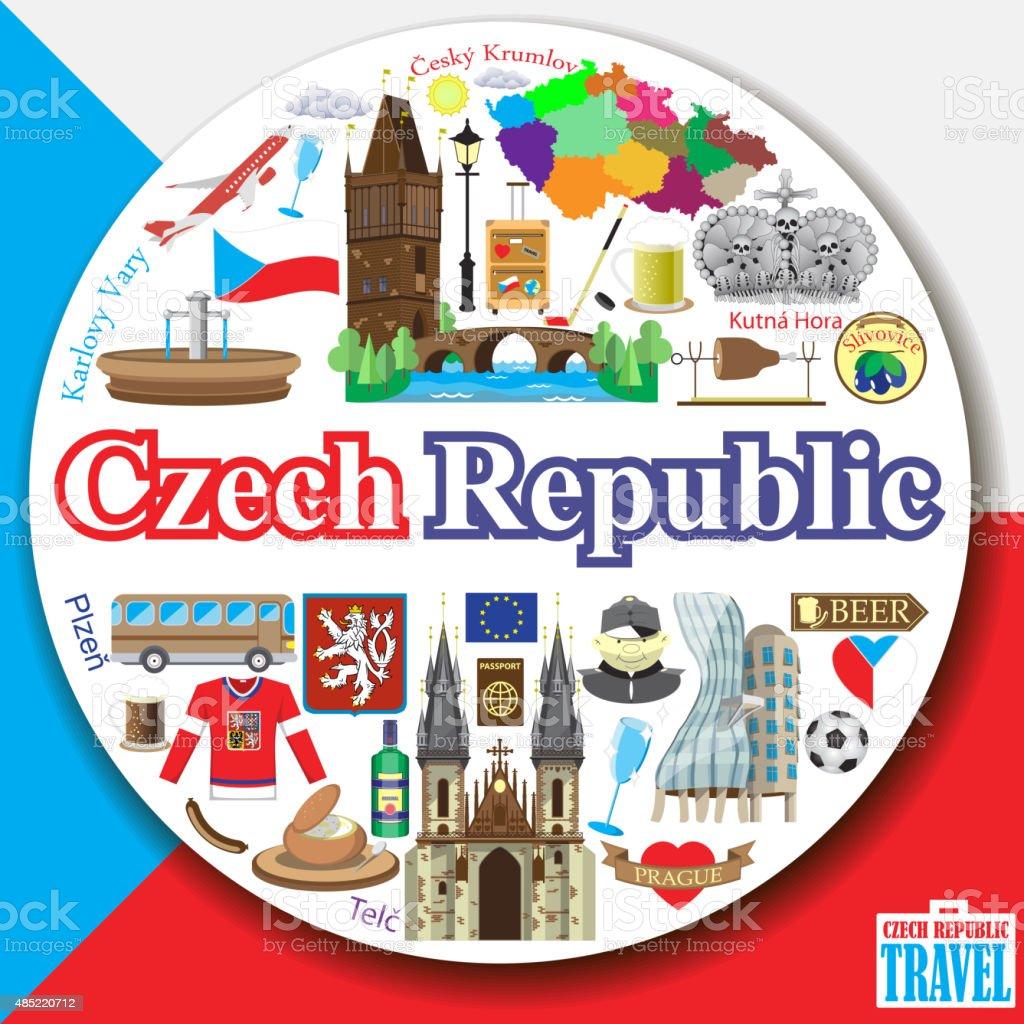 Czech Republic round background vector art illustration