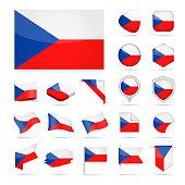 Czech Republic - Flag Icon Glossy Vector Set