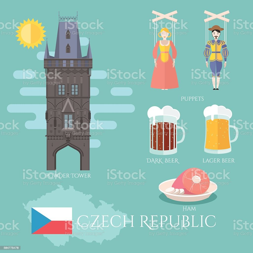 Czech Republic. Set of traditional attractions, souvenirs and cuisine vector art illustration
