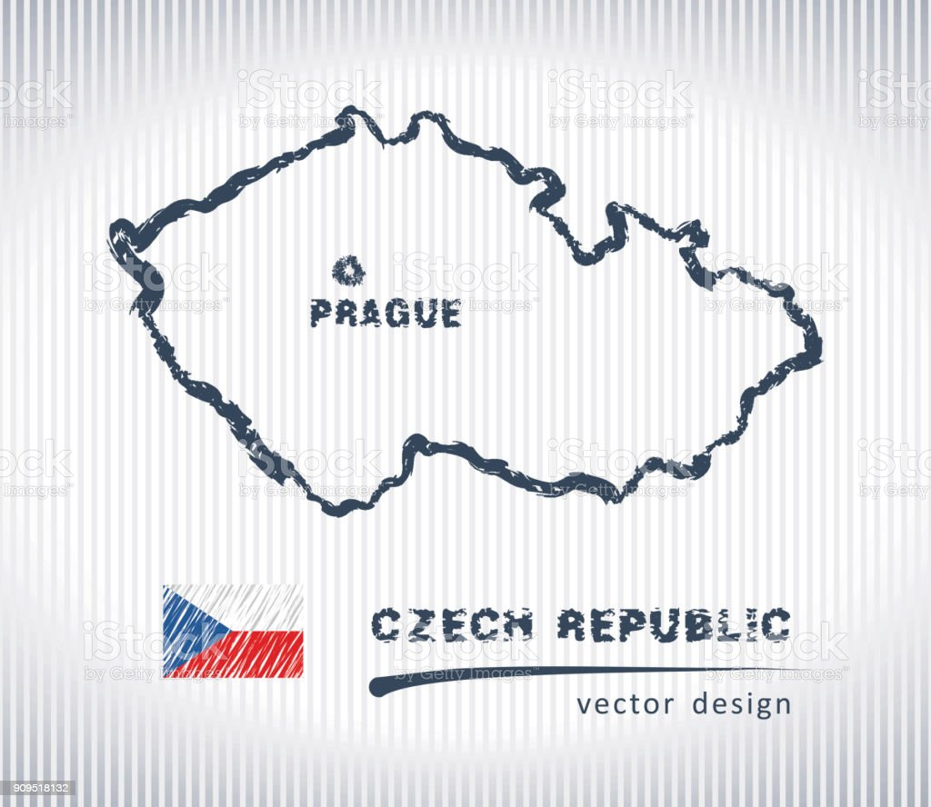 Czech Republic Sketch Chalk Drawing Map Isolated On A White