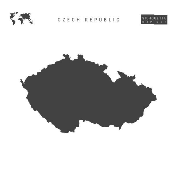 czech republic vector map isolated on white background. high-detailed black silhouette map of czech - republika czeska stock illustrations